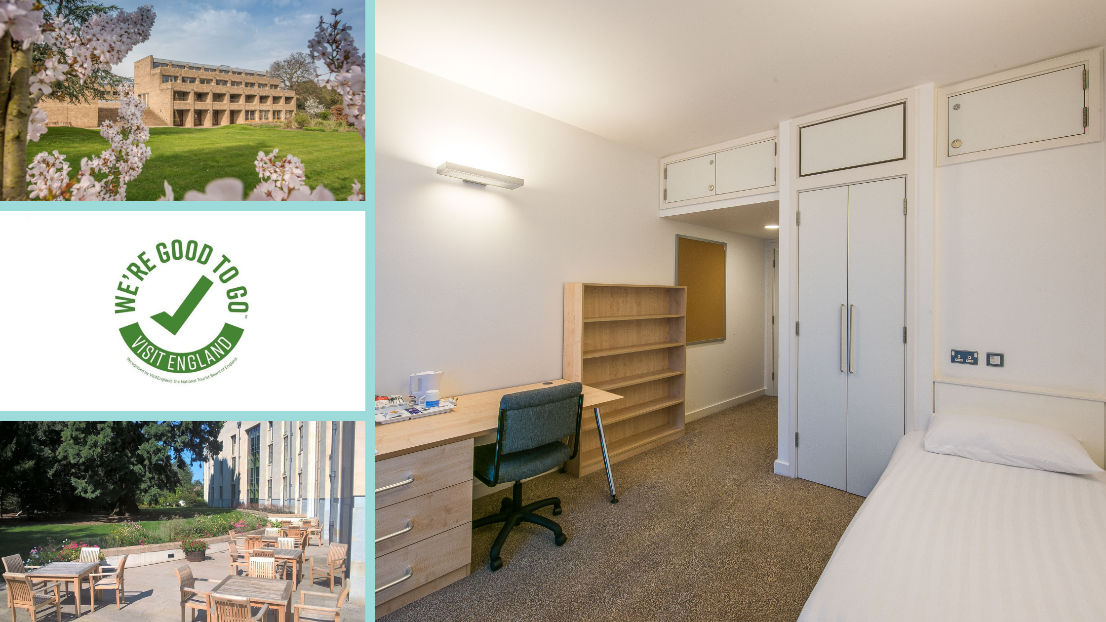 Photo collage of B&B accommodation - Bedroom, external view of Harvey Court, We're Good To Go logo and Stephen Hawking Building patio